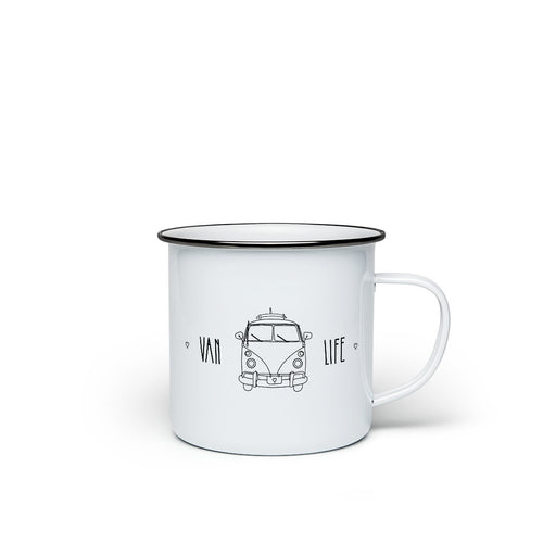 Enamel mug 'Vanlife' - the adventure mug for travellers