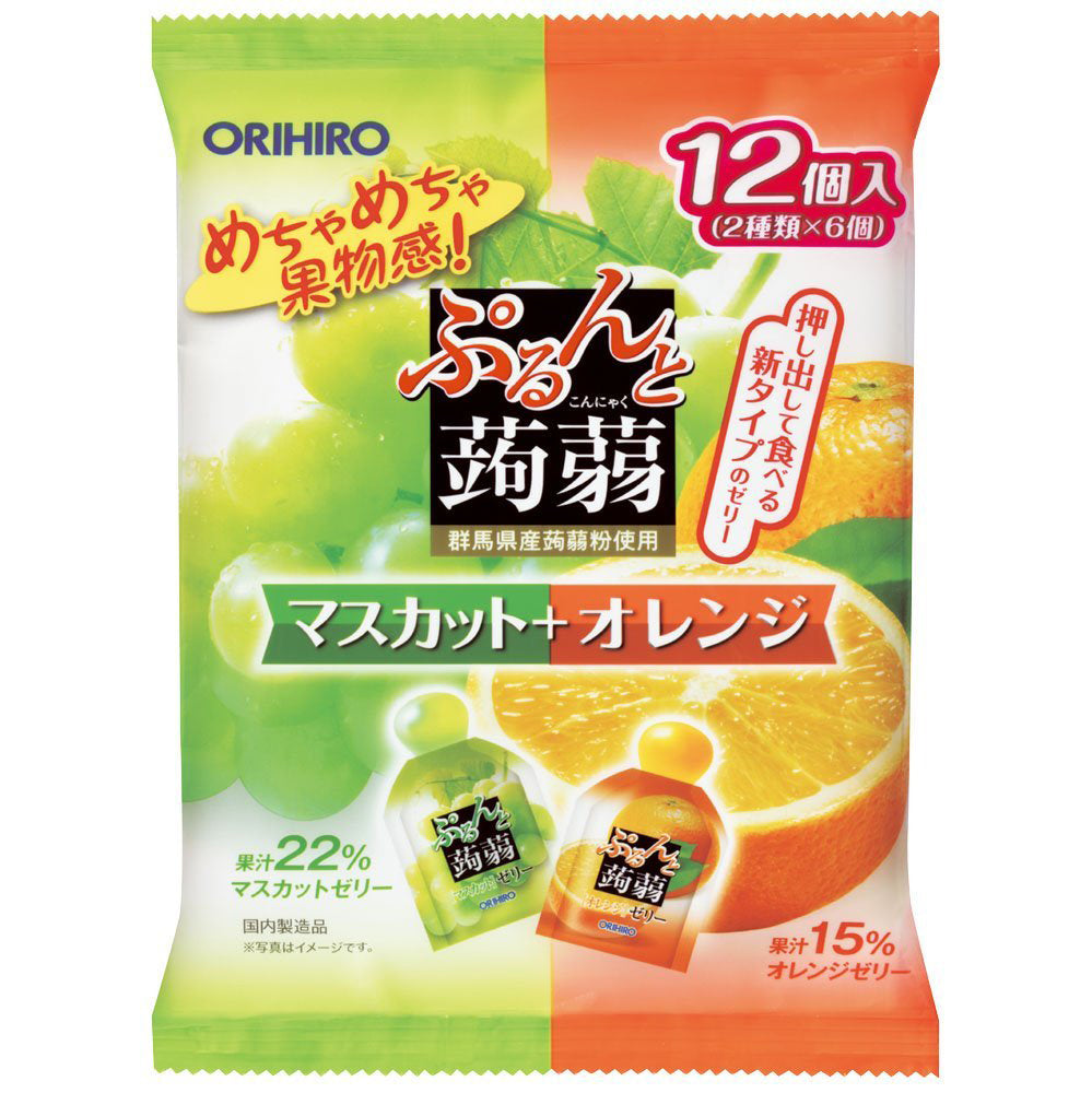 ORIHIRO PURUN TO KONNYAKU JELLY POUCH MUSCAT+ORANGE 12P 240g