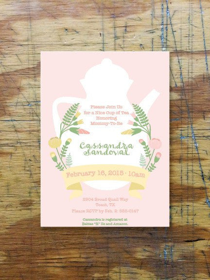 Pastel Pink Wildflowers Teapot Baby Shower Brunch Invite Ladybug