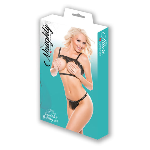 Naughty Faux Leather Open Top & G-String 2 Pc Set Black OS - AngelsandSinners