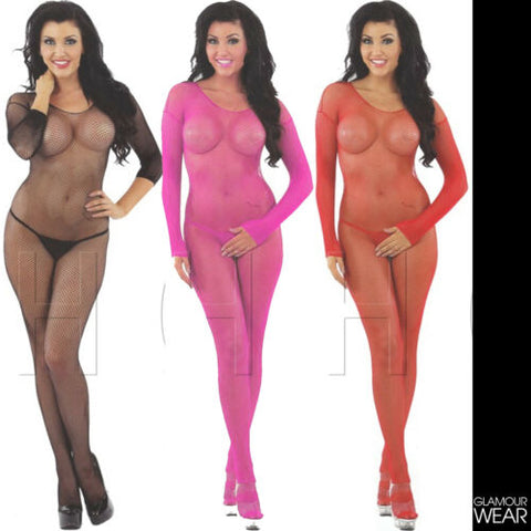 SEXY LONG SLEEVED FISHNET BODYSTOCKING lingerie crotchless bodysuit UK STOCK