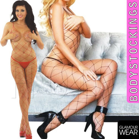 WHALENET Sexy fishnet lingerie floral bodystocking crotchless bodysuit UK seller