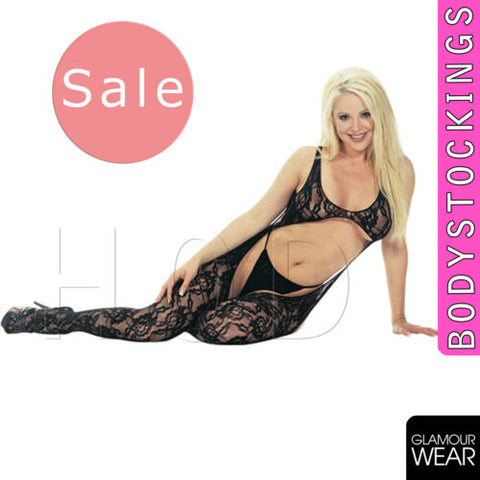 SEXY OPEN BODY FLORAL BODYSTOCKING fishnet lingerie bodysuit glamour onesize