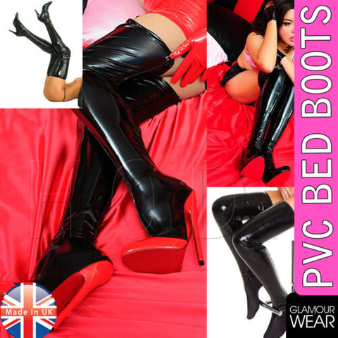 PVC BEDBOOTS VINYL BED BOOTS LADIES LINGERIE CLOTHING GLAMOUR FETISH SHOES