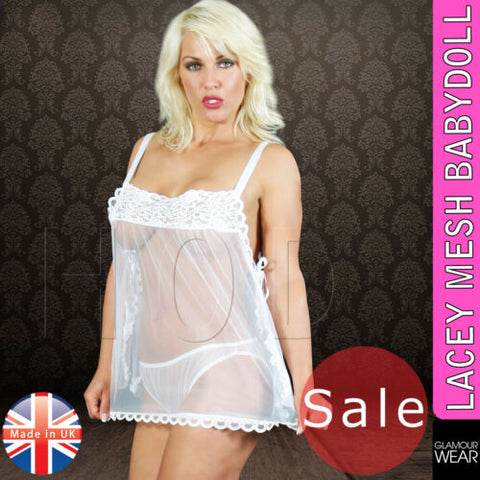 Sexy Womens Lacey Mesh Lingerie Sleepwear Night Gown Babydoll Dress Nightie