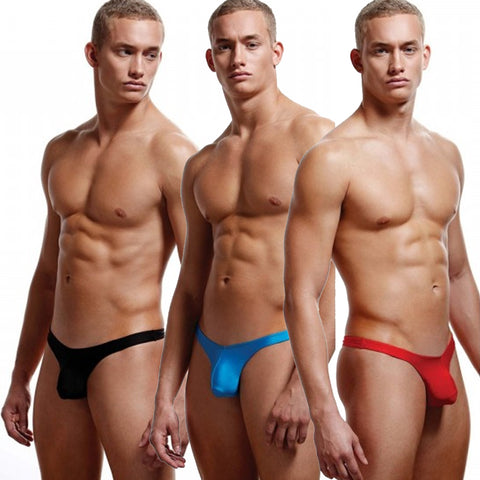 Men's Low Rise Thong Black | Red | Blue