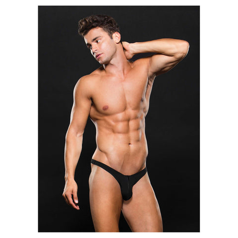 Envy Microfiber Low Rise Zip Thong Black S/M - AngelsandSinners