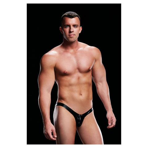 Envy Wet Look Open Back Low Rise Brief w Rise Brief  Black S/M - AngelsandSinners