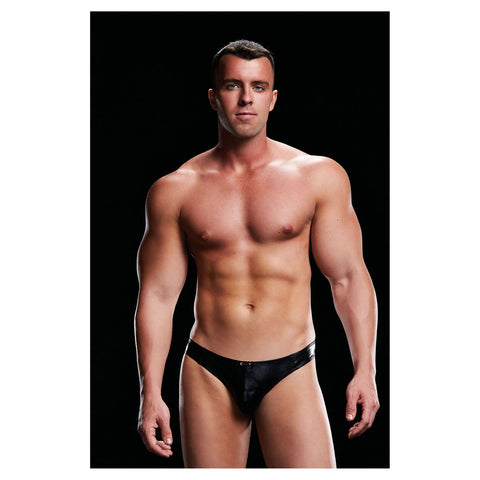 Envy Wet Look Low Rise Thong  Black S/M - AngelsandSinners