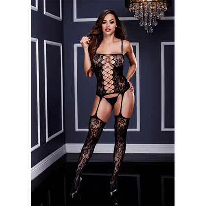 Baci Lingerie Corset Front Suspender Lace Black Bodystocking - AngelsandSinners