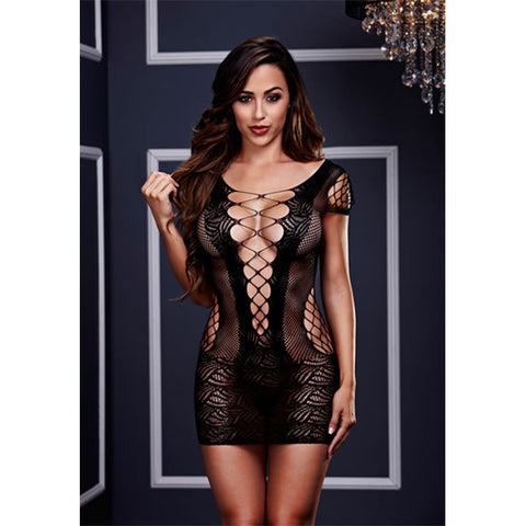 Baci Lingerie Corset Front Lace Mini Dress Black - AngelsandSinners