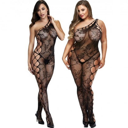 Baci Lingerie Off The Shoulder Bodystocking Black - AngelsandSinners