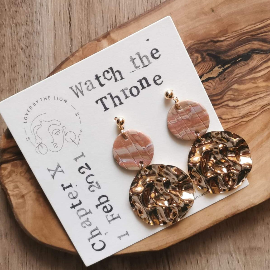 gold jewellery polymer clay earth tone neutral palette gold flakes statement earrings boho bride wedding fashion style