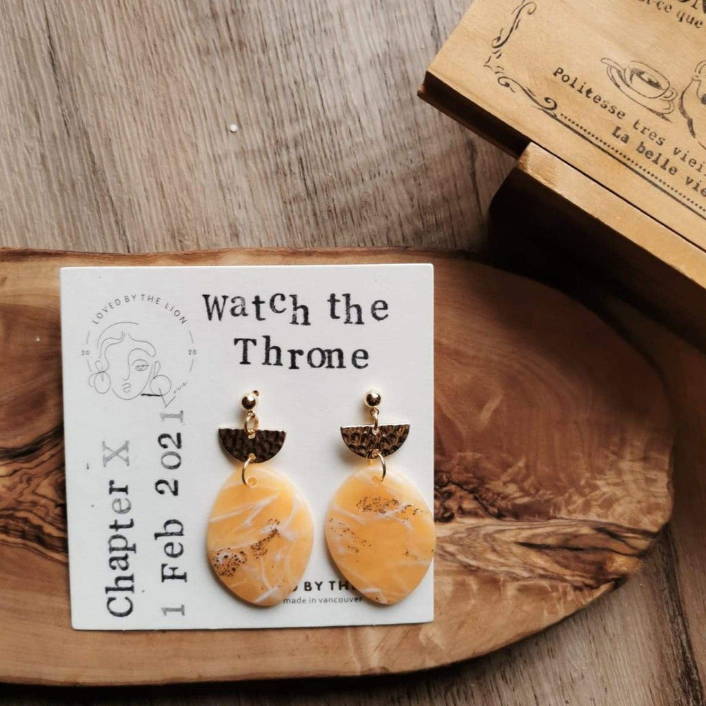 polymer clay orange earring gold attachments small business canada watch the throne egg shape