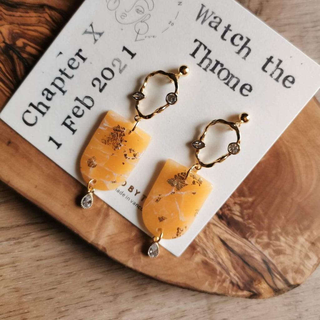 orange polymer clay creamsicle statement earrings dangly earrings fashion statement gold royalty watch the throne made in canada