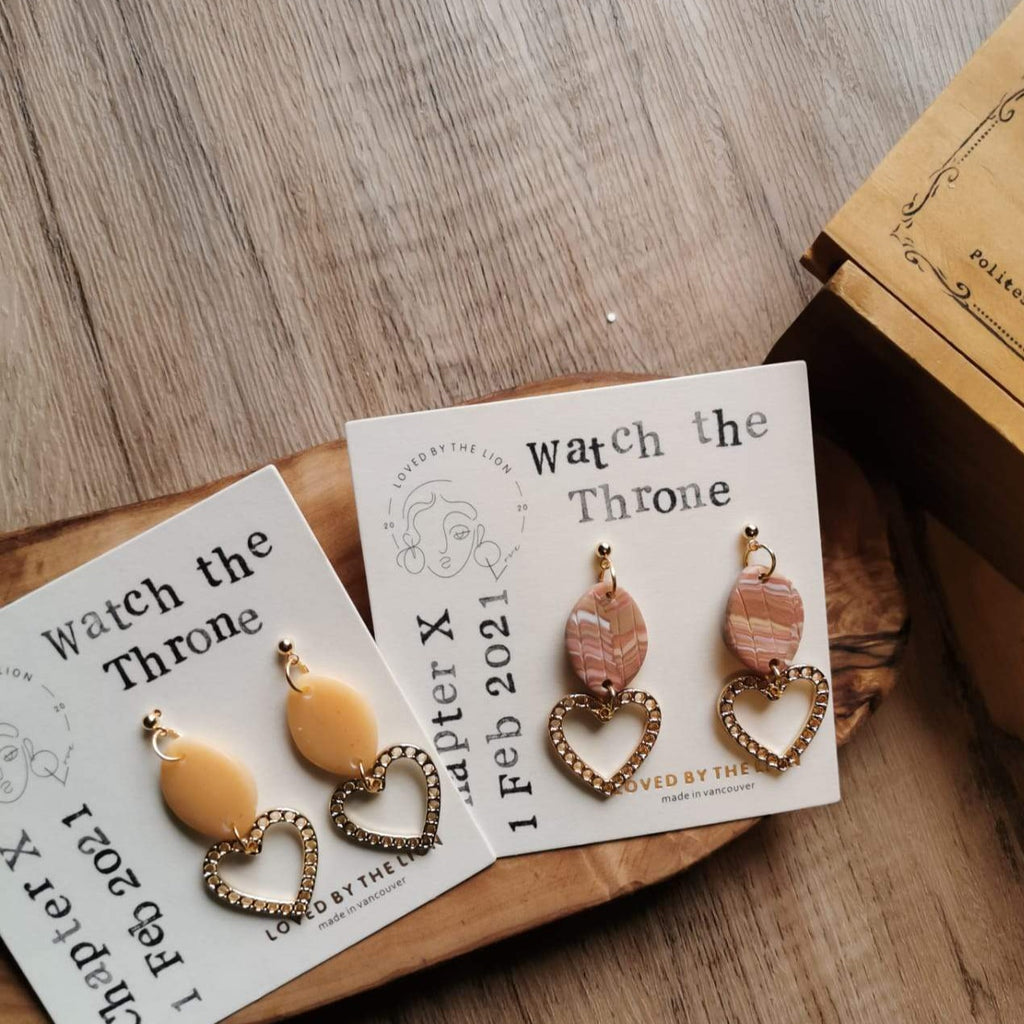 mini hearts dainty earrings neutral colors earth tones polymer clay gold accessories vancouver made in canada hearts on fire valentines day watch the throne