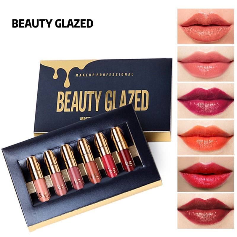 BEAUTY GLAZED 6 Colors Matte Lipstick Set Waterproof Long Lasting Lip Gloss Nude Velvet Pigment Batom Women Fashion Lip Makeup - Mr. LuiGi Shop