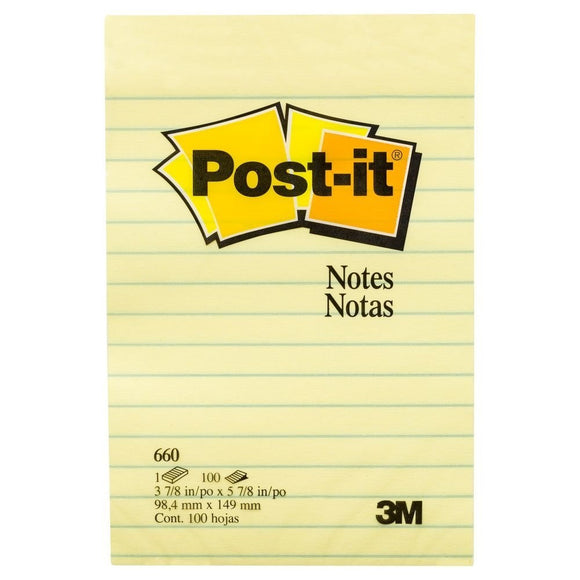 3M Post-It Note 4 x 6 with Lines, Yellow