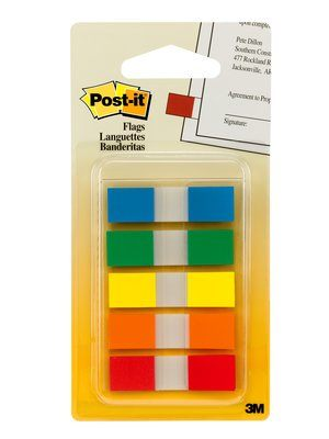 3M Post-it Flags 5's Assorted Colors