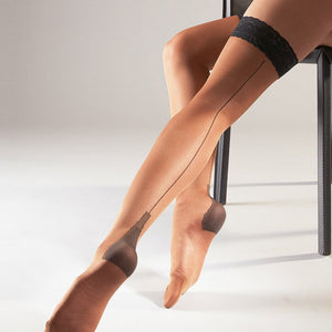 Stay Ups Seamed Skin Stockings