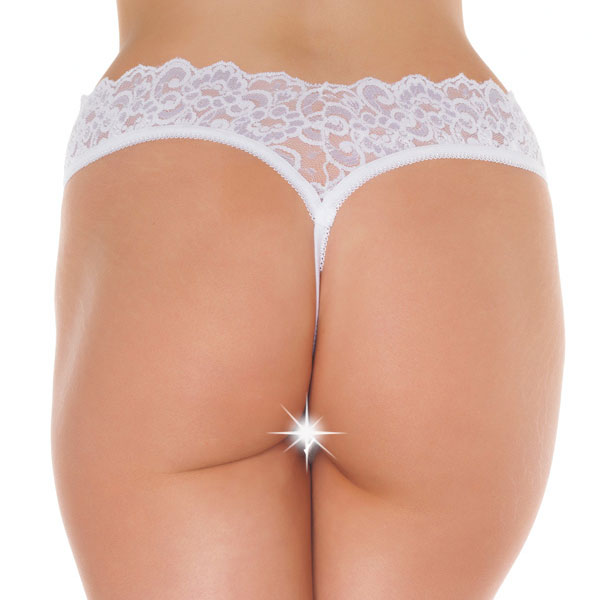 White Lace Open Crotch GString