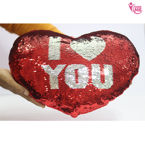 Image of Sequin Heart Shape Pillow