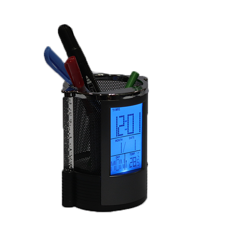 Digital Clock Pen Holder