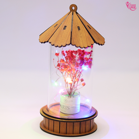 Image of Dry Flower Wooden Lamp