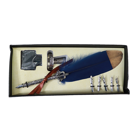 Vintage Feather Pen & Ink Set