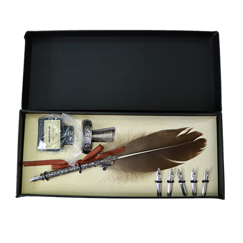 Image of Vintage Feather Pen & Ink Set