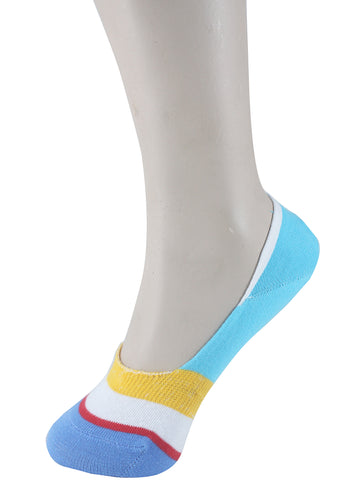 Invisible Liner Socks Turquoise Yellow Blue Women