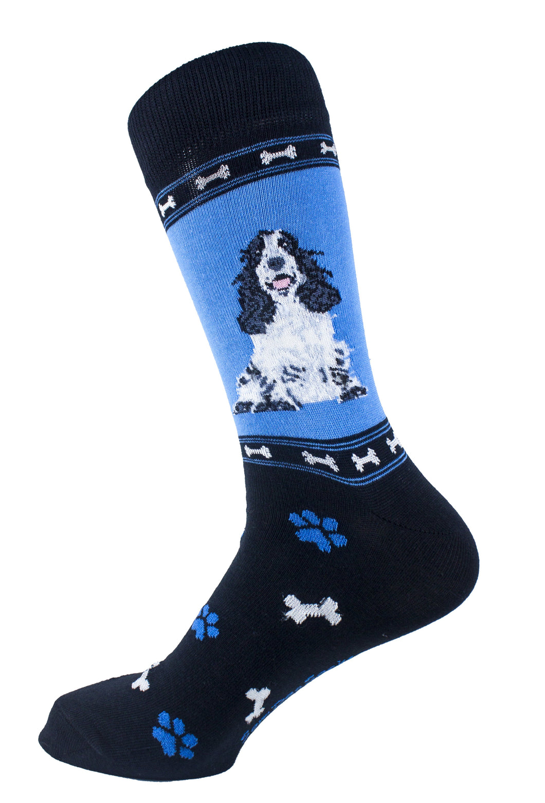 Cocker Spaniel Black & White Dog Socks Mens Signature