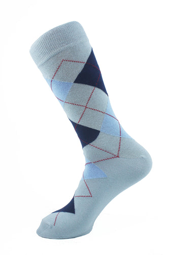 Argyle Men Socks Navy and Sky Blue - samnoveltysocks.com