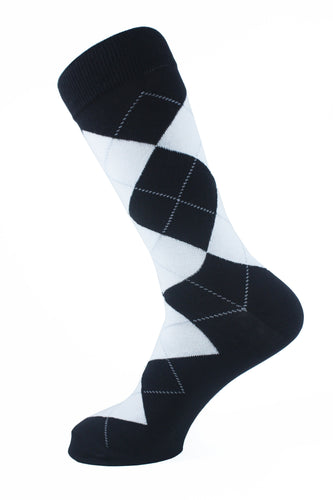 Argyle Men Socks White - samnoveltysocks.com