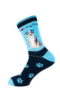 Australian Shepherd Dog Socks Signature - samnoveltysocks.com