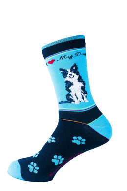 Border Collie Dog Socks Signature - samnoveltysocks.com