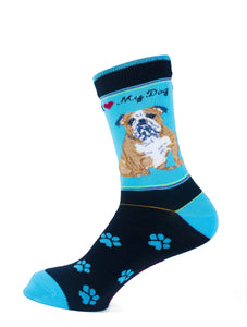 Bulldog Dog Socks Signature - samnoveltysocks.com