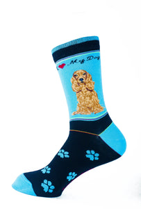Cocker Spaniel Brown Dog Socks Signature - samnoveltysocks.com