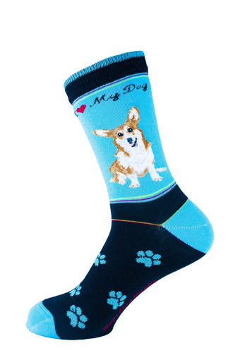 Corgi Brown Dog Socks Signature - samnoveltysocks.com