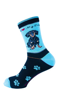 Dachshund Black Dog Socks Signature - samnoveltysocks.com