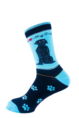Lab Black Dog Socks Signature - samnoveltysocks.com