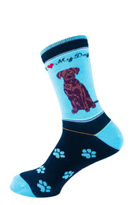 Lab Chocolate Dog Socks Signature - samnoveltysocks.com