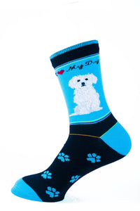 Maltese Dog Socks Signature - samnoveltysocks.com