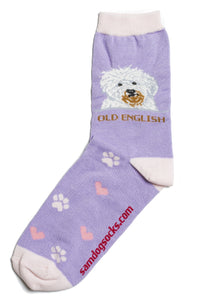 Old English Sheepdog Dog Socks - samnoveltysocks.com