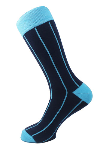 Pinstriped Men Socks Navy Blue Turquoise - samnoveltysocks.com