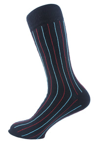 Pinstriped Men Socks Turquoise Red - samnoveltysocks.com