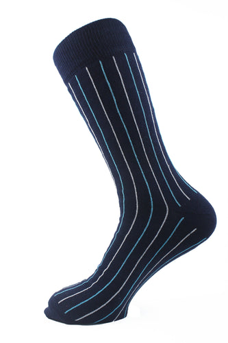 Pinstriped Men Socks Turquoise White - samnoveltysocks.com