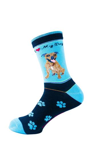 Pit Bull Brindle Dog Socks Signature - samnoveltysocks.com