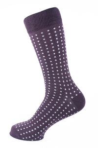 Polka Dots Men Socks White Burgundy - samnoveltysocks.com