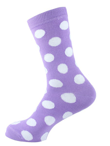 Polka Dots Women Socks White Purple - samnoveltysocks.com
